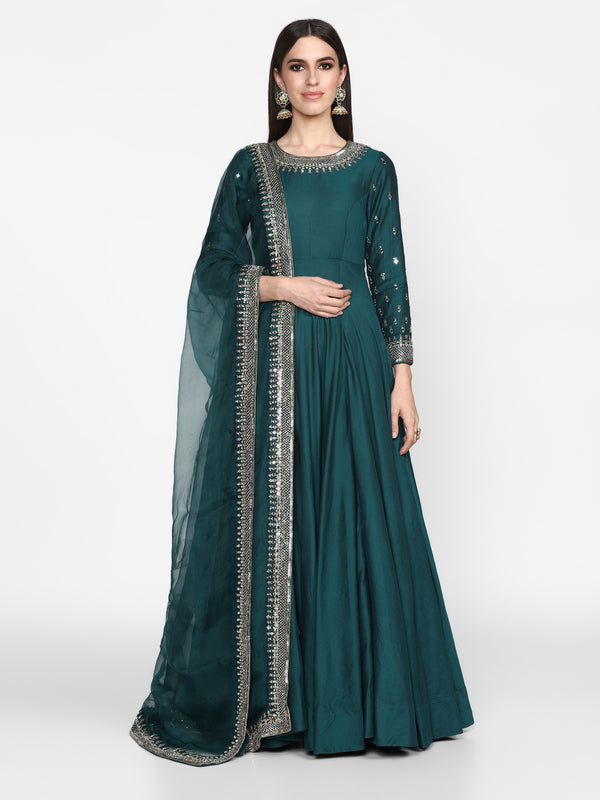 Blue Anarkali with Dupatta