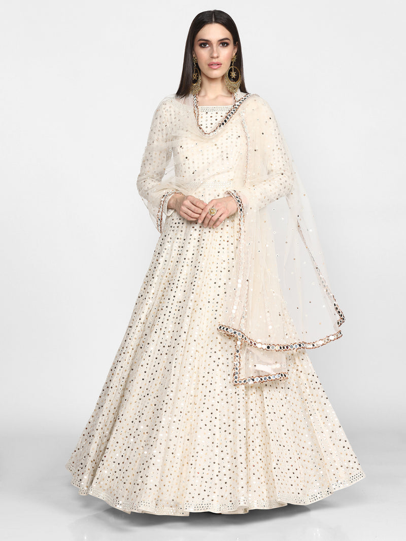 Off White Embroidered Anarkali with Dupatta