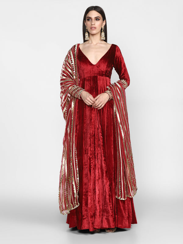 Maroon Anarkali with Dupatta