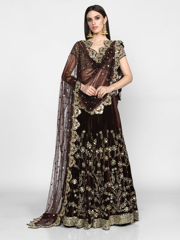 Brown Heavy Embroidered Lehenga Set