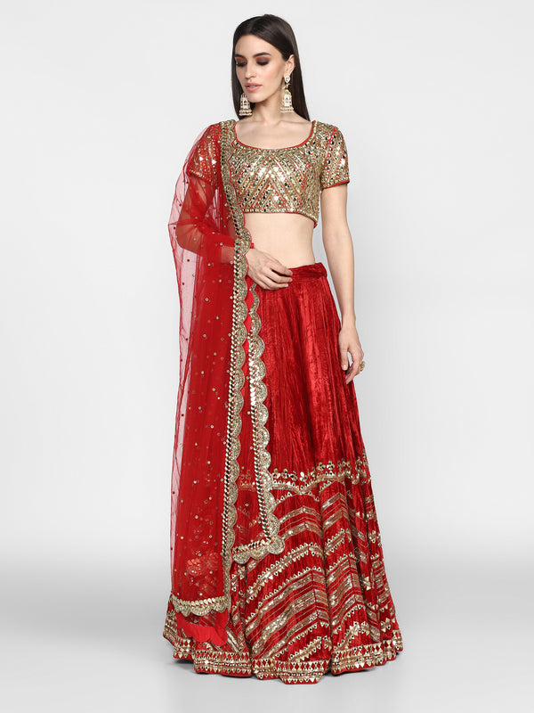 Maroon Heavy Embroidered Lehenga Set