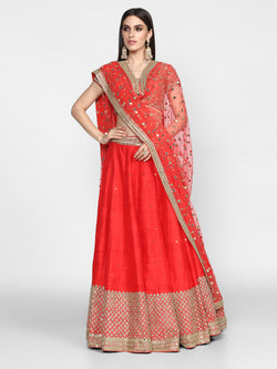 Red Embellished Lehenga Set
