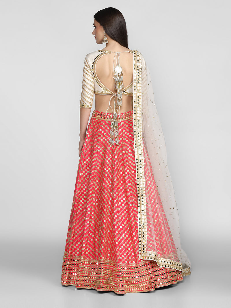 Off-White & Pink Embellished Lehenga