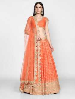 Orange Embellished Lehenga Set With Scalloped Lehenga