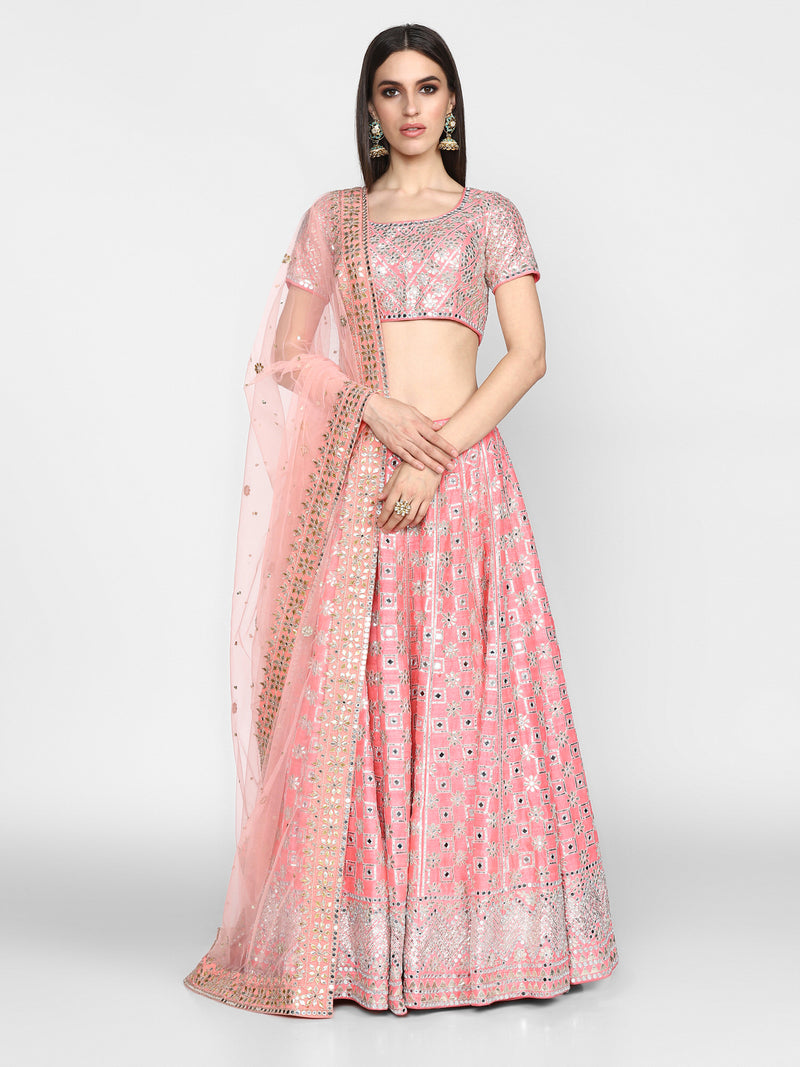Pink Embellished Lehenga with Mirror-Work & Gota