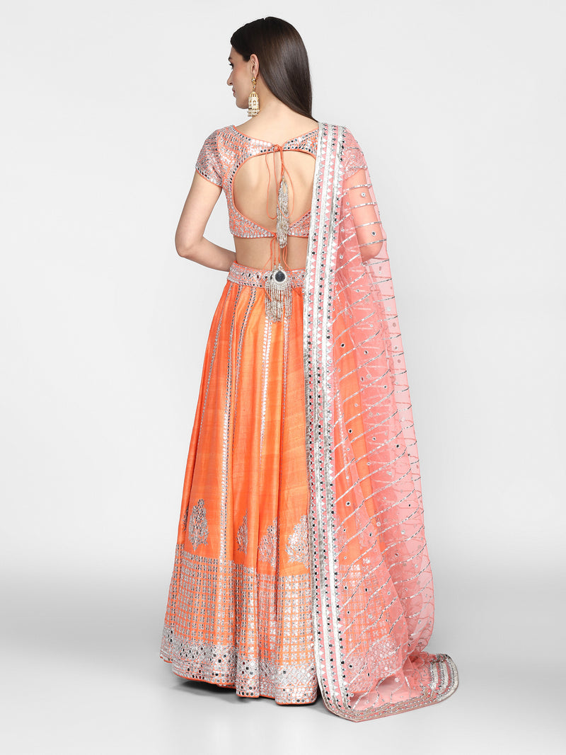 Orange Embellished Lehenga Set With Gota Embroidery