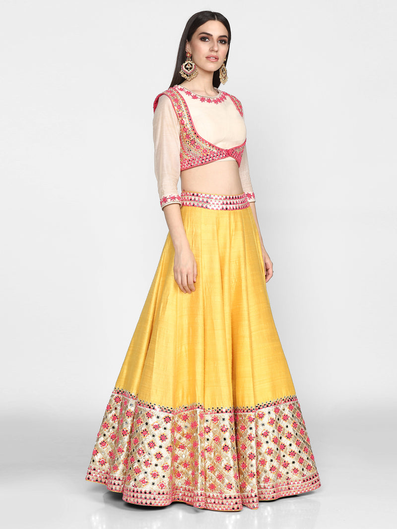 Multicolour Chanderi Lehenga Set with Jacket