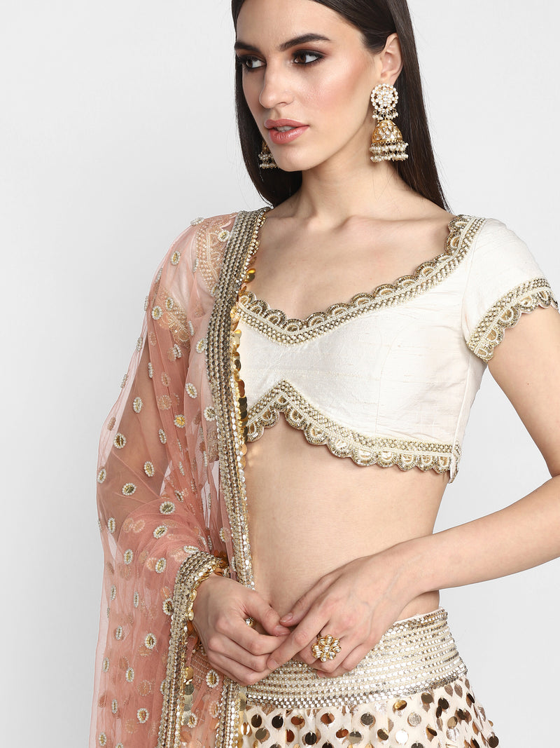 Off White Chanderi Lehenga Set with Net Dupatta