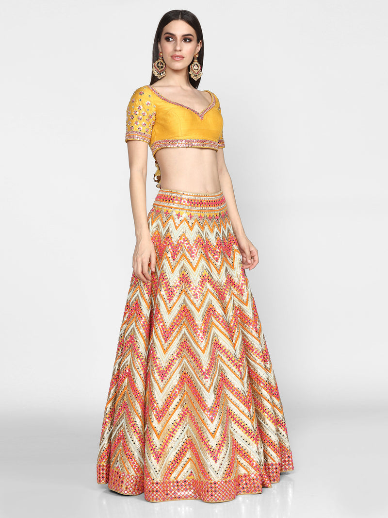 Multicolour Chevron Lehenga Set