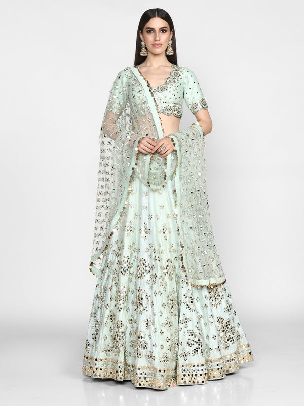Powder Blue Embellished Raw Silk Lehenga Set