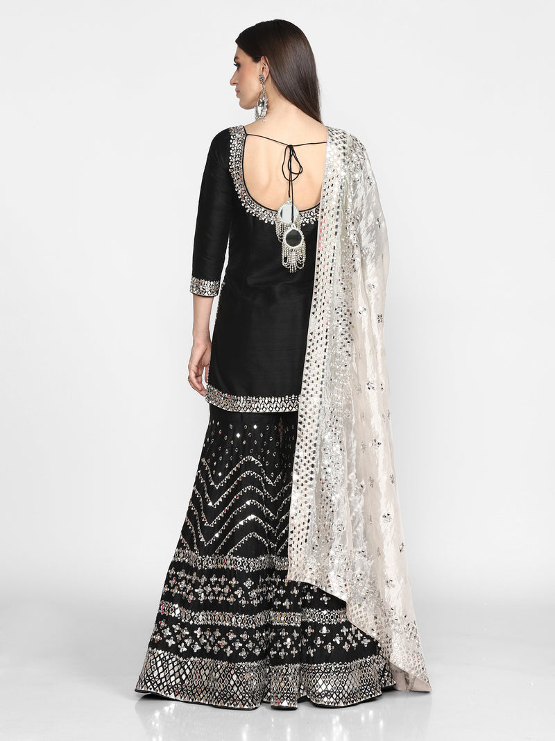 Black Embroidered Sharara Set