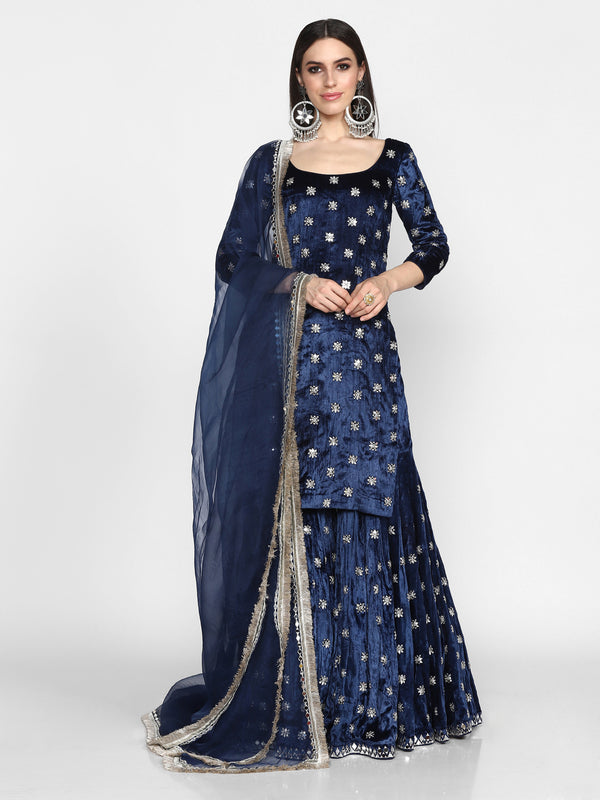 Navy Blue Heavy Embroidered Sharara Set