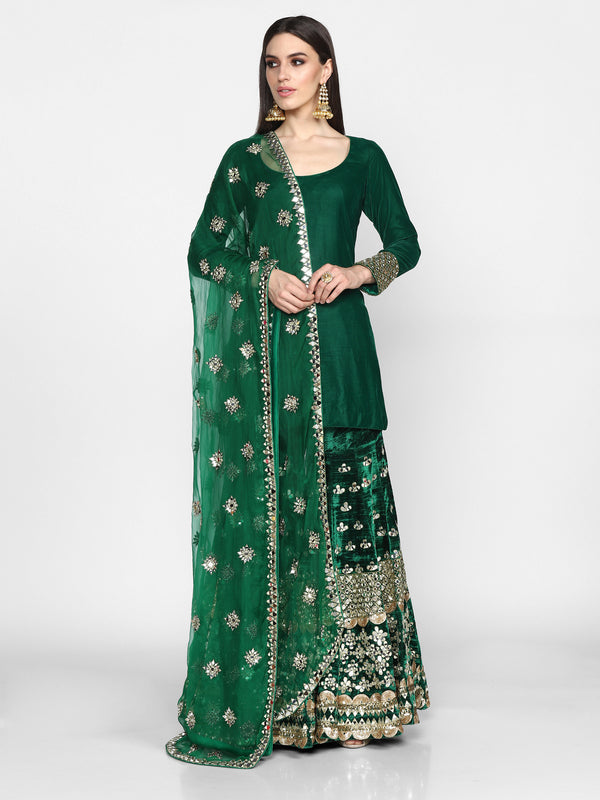 Green Heavy Embroidered Sharara Set