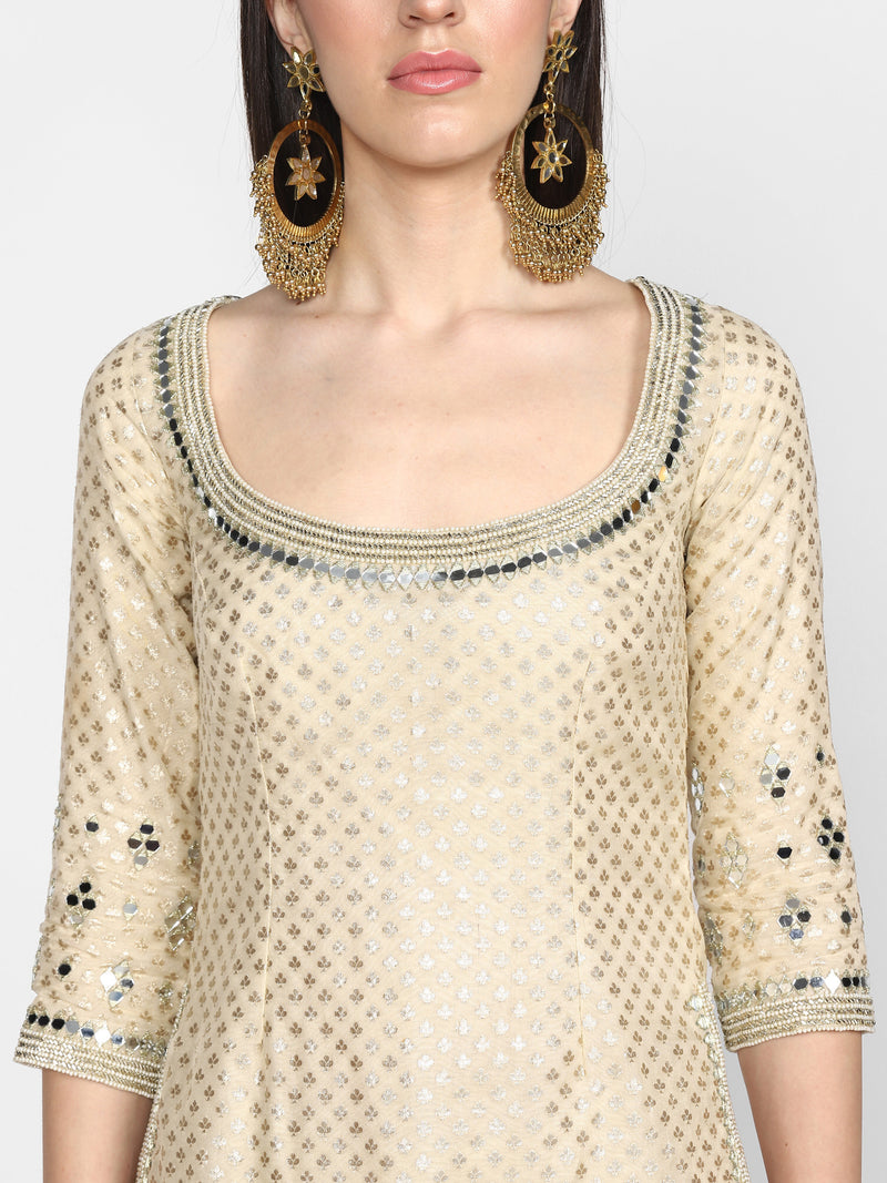 Beige Embroidered Sharara Set