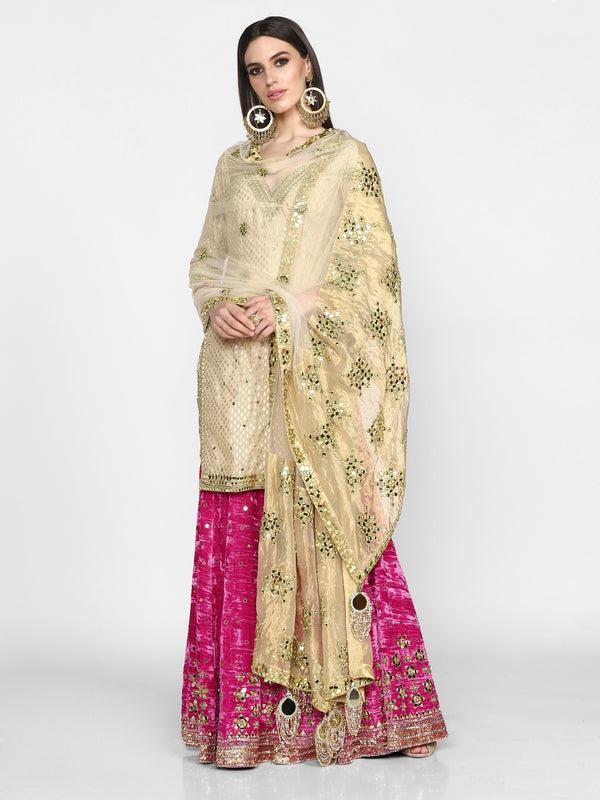 Beige and Pink Sharara Set with Dupatta