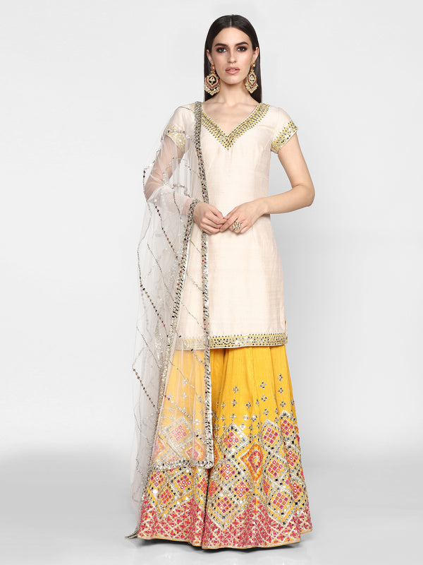 Off-White and Yellow Sharara Set