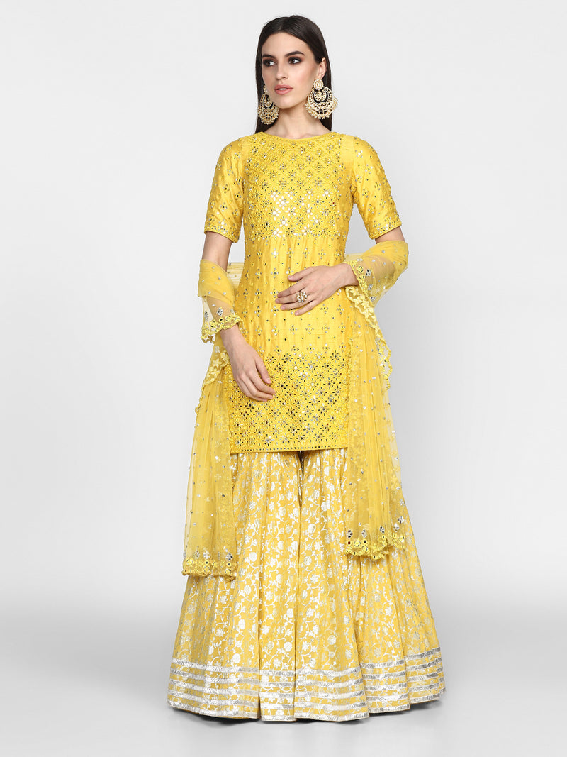 Yellow Chanderi Sharara Set with Net Dupatta