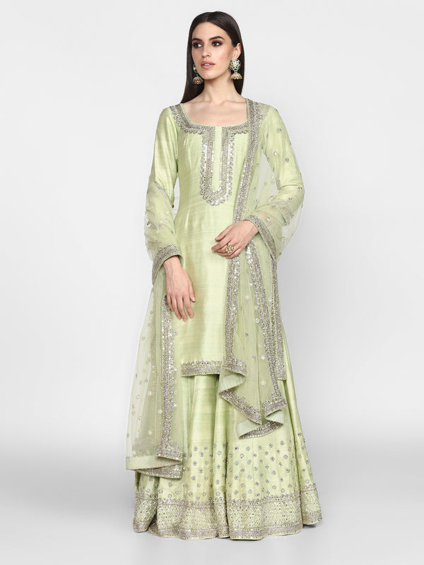 Mint Green Sharara Set with Net Dupatta