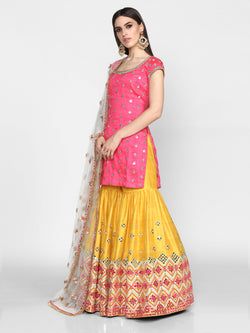Pink and Yellow Embroidered Sharara Set with Net Dupatta