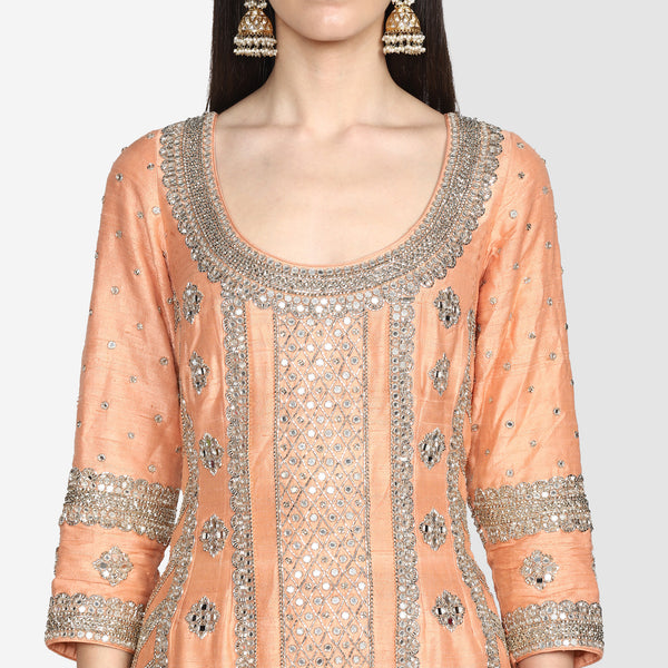 Peach Embroidered Sharara Set With Net Dupatta