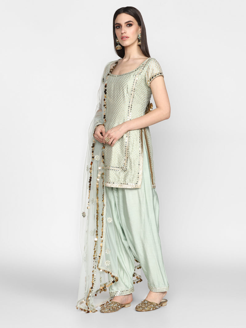 Powder Blue Kurta Set with Net Dupatta