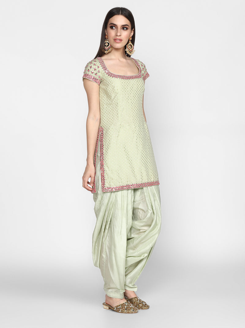 Mint Green & Pink Kurta Salwar Set