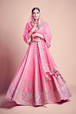 Jaipuri Pink Mirror Work-Embellished Lehenga with Gota Detailing as seen on Sonam Kapoor