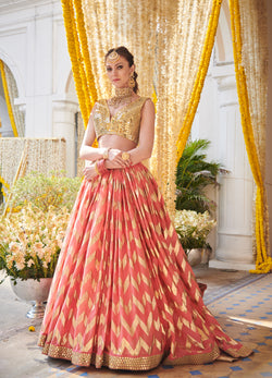 Coral Hand Embroidered Chevron Lehenga Set