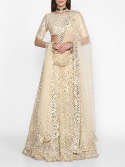 Beige Embroidered Lehenga Set