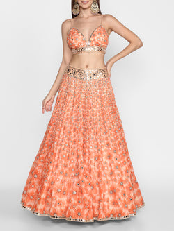 Orange Printed Lehenga Set