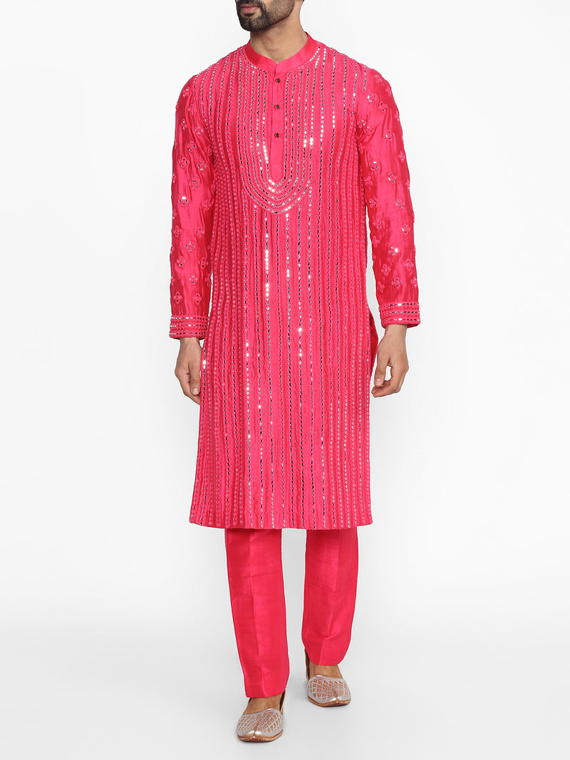 Hot Pink Embellished Kurta