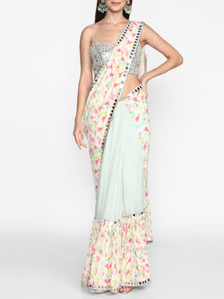 Ivory Printed Saree