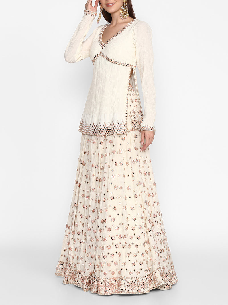 Ivory Kurta And Skirt Set