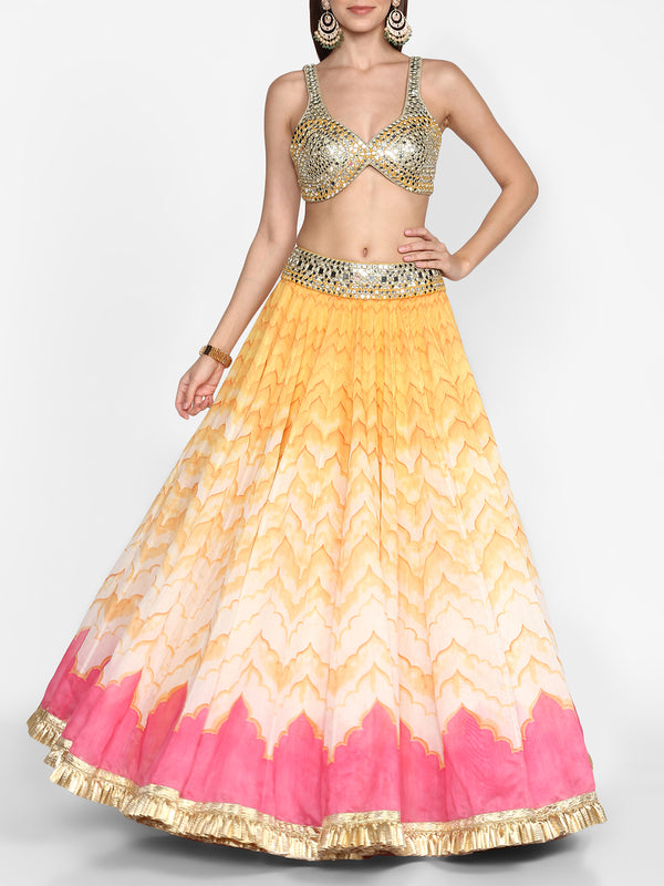 Colourblock Embellished Lehenga Set