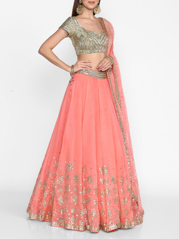 Peach Embellished Lehenga Set