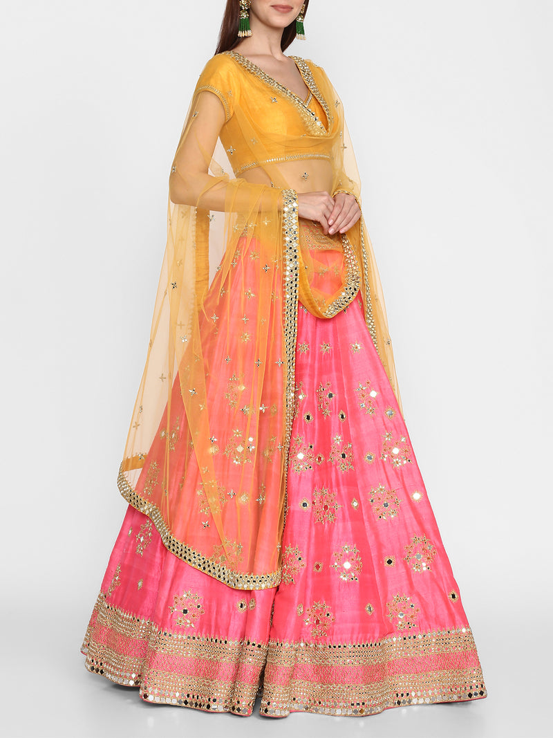 Neon pink And Yellow Lehenga Set