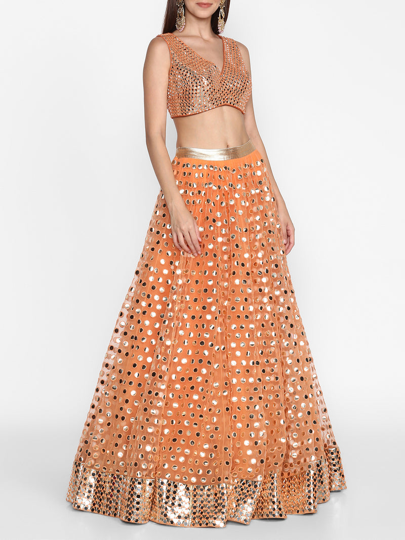 Orange Embellished Lehenga Set