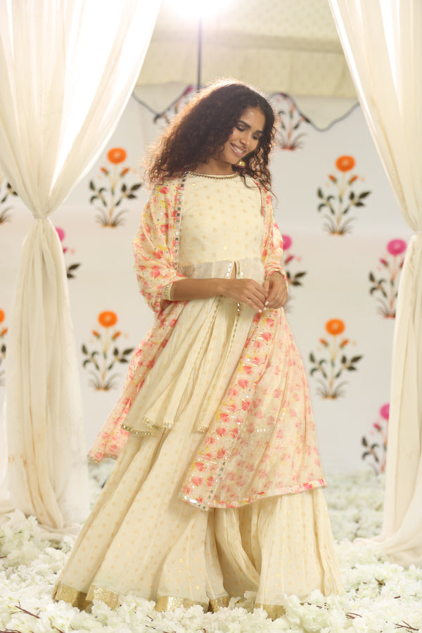 Ivory Peplum Set With Printed Dupatta
