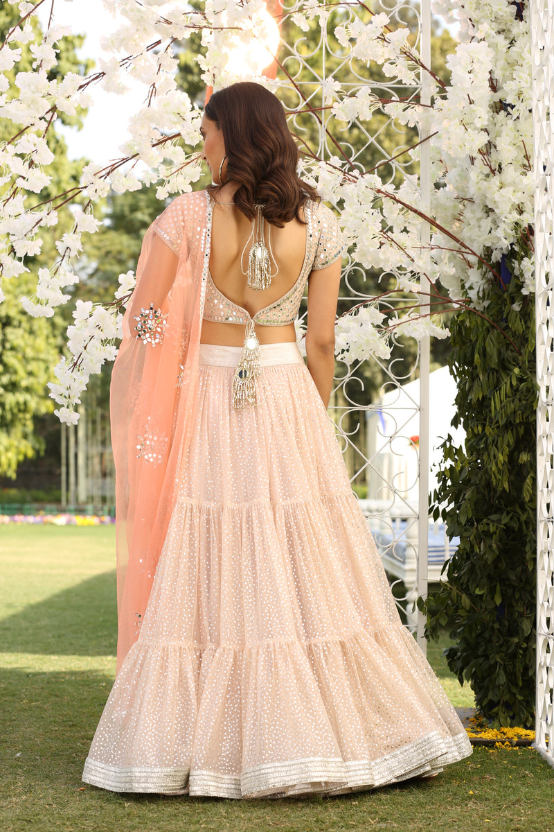 Pink Embellished  Tiered Lehenga Set