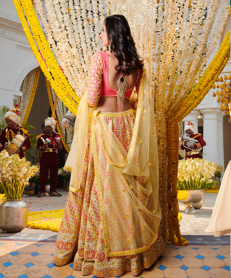 Multicolour Mirror Work Lehenga Set