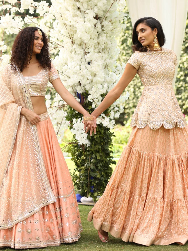 Peach Peplum And Lehenga Set