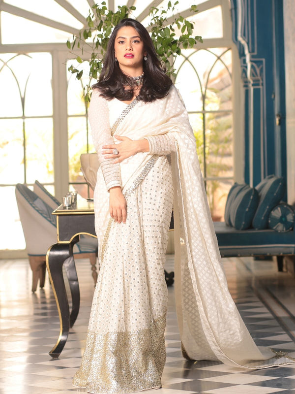 Ivory Embellished Saree