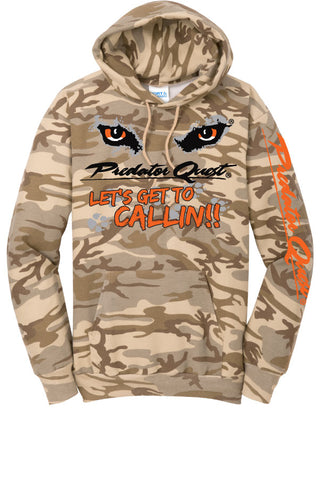 Port & Company® Core Fleece desert camo Pullover Hooded Sweatshirt with Predator Quest logo and Let's get to callin!