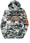 Port & Company® Core Fleece winter camo Pullover Hooded Sweatshirt with Predator Quest logo and Let's get to callin!