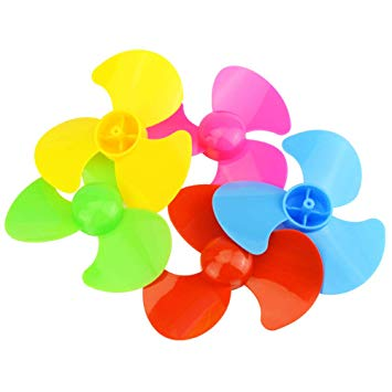 10pcs 5 colors 60mm/80mm/100mm diameter plastic blade four leaf pulp fan leaves small production DIY toy