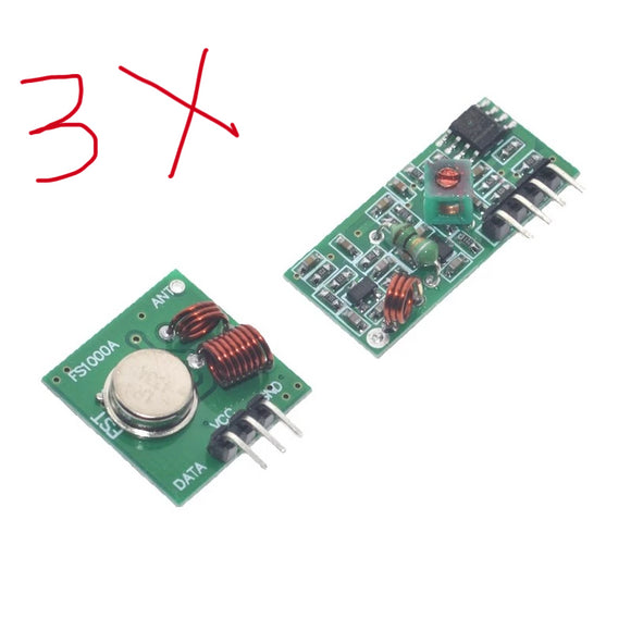 3pcs of 433Mhz RF Transmitter Receiver Module - Wireless ASK 433 Mhz Tx Rx pair