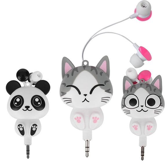 Panda Cute headphones Retractable MP3 MP4 Earphone for Samsung HTC Xiaomi for IPhone 5 5s 6 6s plus