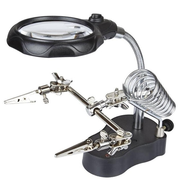 Soldering Iron Station Stand With Third Hand Helping Tool - Welding Magnifying Glass