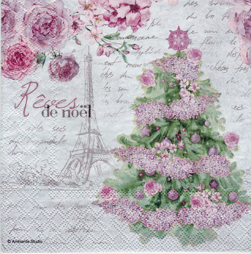 Servetele Decorative Tehnica Decoupage Craciun Roses de Noel Carte Postala Paris