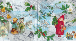 Servetel Decorativ Tehnica Decoupage de Craciun Masa Christmas Vintage Music